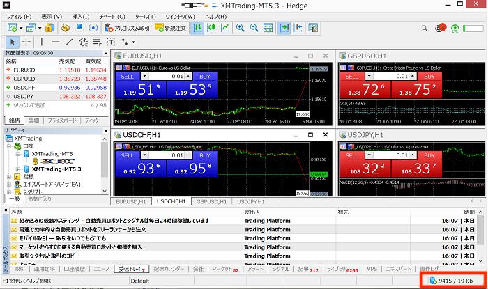 XMのMT4やMT5のチャートがアップデート待機中になる理由 正常な場合
